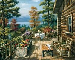 sung kim log cabin porch
