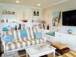 Nautical Living Room Design Decorations Beach House Living Room Decorating Idea With Striped