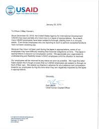 Usaid Official Letter To Creditors Lapse In Appropriations