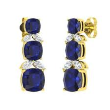 cushion cut sapphire and vs diamond chandelier earring in 18k yellow gold
