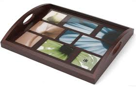 HOST SERVING TRAY<br>by Umbra in espresso grain wood - Picture Frames,  Photo Albums, Personalized and Engraved Digital Photo Gifts - SendAFrame