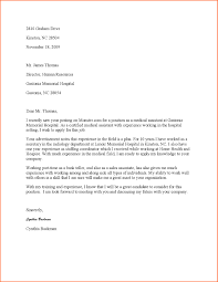 Sample Cover Letter For Medical Assistant With No Experience Cover