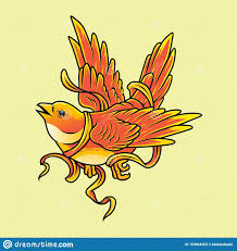 Yellow Bird Design Yellow Bird With Rope Vector Illustration Stock Vector