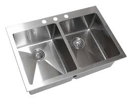 33 inch top mount drop in stainless steel double bowl kitchen sink 15mm