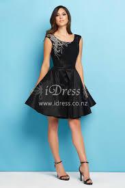 Beaded Cap Sleeve Knee Length Black A Line Satin Short Ball Dress