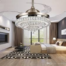 led 42inch 108cm changing light k9 crystal ceiling fan modern contemporary living room remote control led fan lights bedroom 85 265v 4 color changing light
