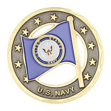 U.S. Navy/American Flag Challenge Coin - Navy SEAL Museum SHIP Store