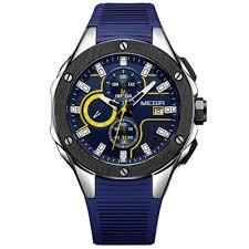 <b>MEGIR Men's</b> Multi Functions Chronograph Watch Sports Silicone ...