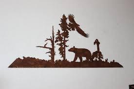 custom made bear and eagle metal wall art country rustic decor