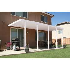 Aluminum patio covers home depot Backyard White Aluminum Attached Solid Patio Cover With Posts 20 Lbs Live Load Home Depot Integra 22 Ft 10 Ft White Aluminum Attached Solid Patio Cover