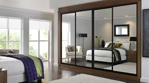 Mirrored Sliding Closet Doors For Bedrooms Nice Looking Closet Mirror Sliding Wardrobe Doors With Grey Fur