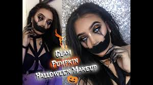easy glam jack o lantern makeup tutorial creepy pumpkin