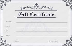 Printable Gift Certificate Templates Printable Gift Certificate Template Blank Gift Certificate Template