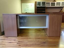 desks curved desk designs l shaped reception furniture used bow front office modern for with co