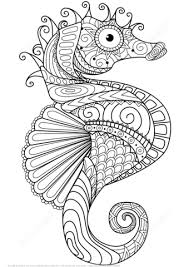 Small Picture Sea Horse Zentangle coloring page Free Printable Coloring Pages