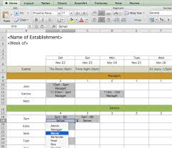 work scheduler excel restaurant employee scheduling template for excel 7shifts