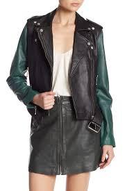 image of muubaa colorblock leather biker jacket