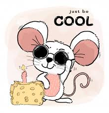 Premium Vector   <b>Happy cool</b> cute white pink mice or mouse wears ...