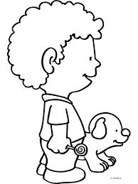 Kleurplaat Jongen Met Hond Kleurplatennl