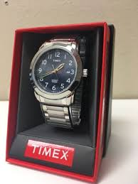 timex mens t2p1329j elevated classics silver tone watch men elevated classics blue dial silver tone expansion band watch new