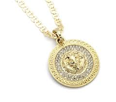 gucci necklace mens. mens medallion patern lion gold plated 24\ gucci necklace