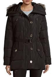 faux fur trimmed belted puffer coat michael michael kors