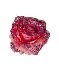 Glitzernde Deko Rose Mit Clip Pink