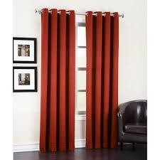modern interior home design with black leather armchair and red eclipse curtains also wall frame design