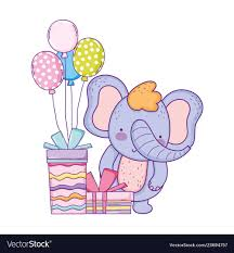 Elephant Design Gifts Elephant With Gifts And Balloons Helium