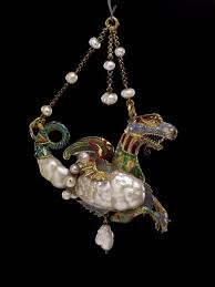 gold and pearl pendant jewel of a sea dragon two irregular shaped