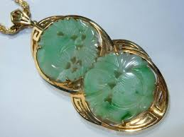 details about vintage carved jade pendant necklace 14k yellow imperial gold pendant chain