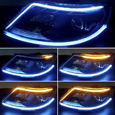 Dual Color Blue Amber Led Headlight Stirp Tube Lights Henlight 2 Pcs 24inches Flexible Day Time Light Waterproof Drl Led Kit For Car Switchback