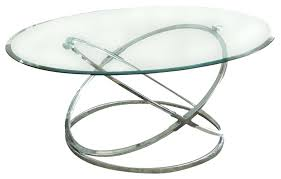 round chrome and glass coffee table legs