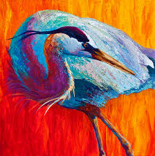 2019 artwork great blue heron unframed modern canvas wall art for home and office decoration oil painting animal painatings frame