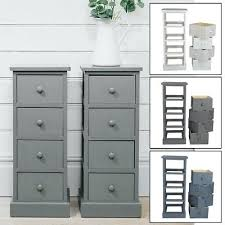 new 4 drawer pair slim tall bedside tables white grey graphite bedroom storage narrow uk