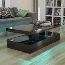 black coffee table. Tiffany Black High Gloss Rectangular Coffee Table With LED Lighting E