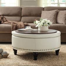 appealing white leather shabby chic ottoman coffee table round with brown wood tray designs