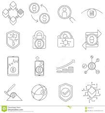 Monoweight Design Cryptocurrency And Blockchain Icons And Symbols Stock Vector