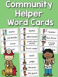 Community Helpers Chart Pdf Community Helper Word Cards Prekinders