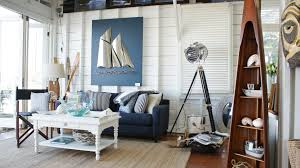 white coastal furniture. Classic Coastal Furniture With Blue Fabric Loveseat Plus Cushions And Lighthouse Lamp Also Vintage White Coffe Table