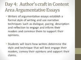 argumentative essay immersion ppt video online day 4 author s craft in content area argumentative essays