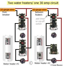 how to install two water heaters 30 Amp Wire Diagram For Residential Water Heater larger image, 1 ordinary non simultaneous and 1 redundant water heater on one 30 amp wire and breaker applies to electric water heaters