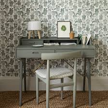wallpaper for home office. grey home office with patterned wallpaper for
