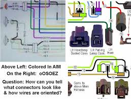 docrebuild s oosoez wiring guides on the left you cannot tell anything except pretty colors are present note there actually are two separate purple wires entering the parking lamp