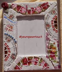 handmade shabby mosaic picture frame broken cut china plate rims stained glass handmade clay rose