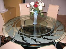 ssample custom glass table with custom glass etching