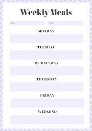 Lavender Weekly Meal Planner Menu Template Free Online White