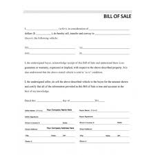 Vehicle Bill Of Sale Form Impressive Vehicle Bill Of Sale Automobile Forms Standard Forms