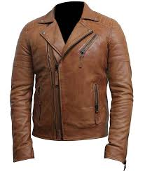 mens classic motorcycle double zip tan leather jacket