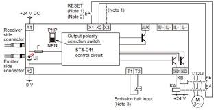 compact type 4 safety beam sensor st4 i o circuit and wiring in case of npn output